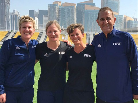 USA Instructors, including WA's Sandy Hunt for the 2019 Women's World Cup at a training session in Qatar.
